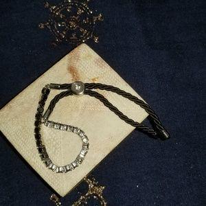 Swarovski Jewelry - Black Czech Crystal & Silk Bracelet